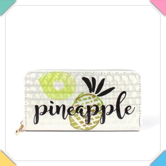 Handbags - Pineapple Print Zip Around Wallet